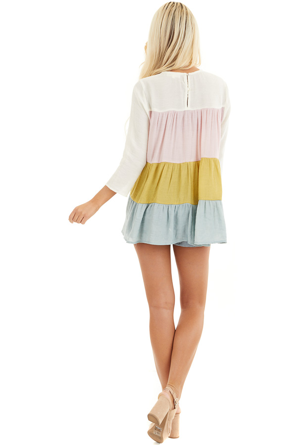Ivory Multicolor Colorblock 3/4 Sleeve Tiered Peasant Top back full body