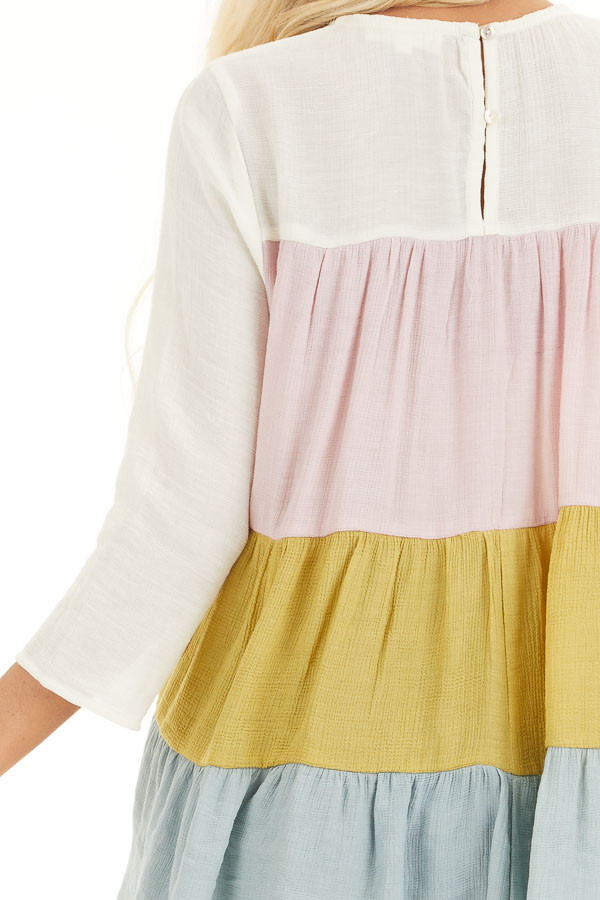 Ivory Multicolor Colorblock 3/4 Sleeve Tiered Peasant Top detail