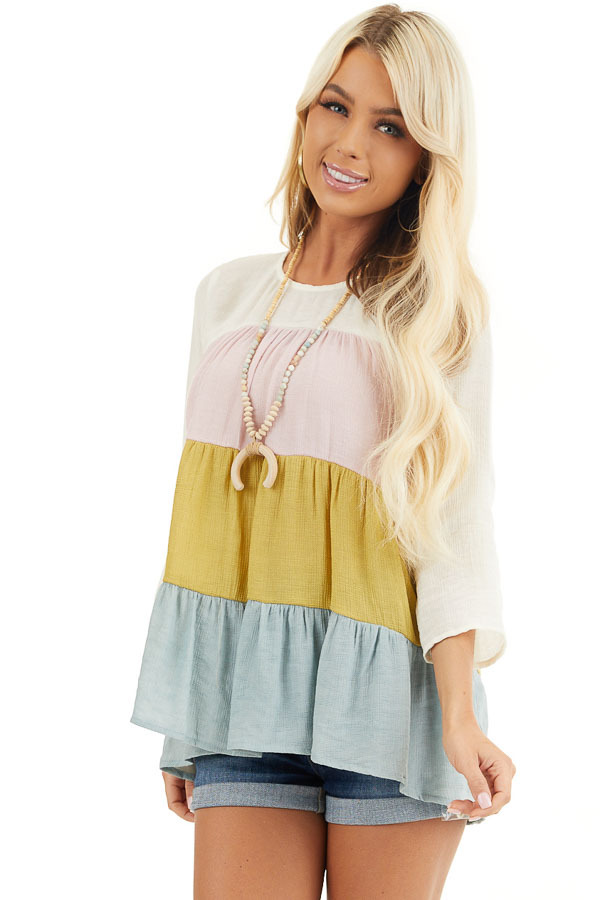 Ivory Multicolor Colorblock 3/4 Sleeve Tiered Peasant Top front close up