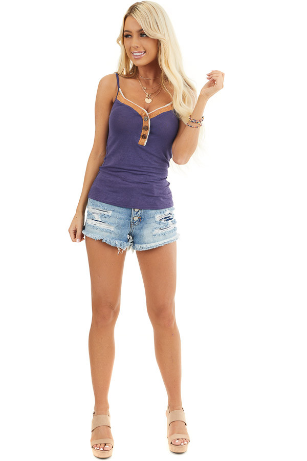 Navy Henley Spaghetti Strap Tank with Contrasting Neckline front full body