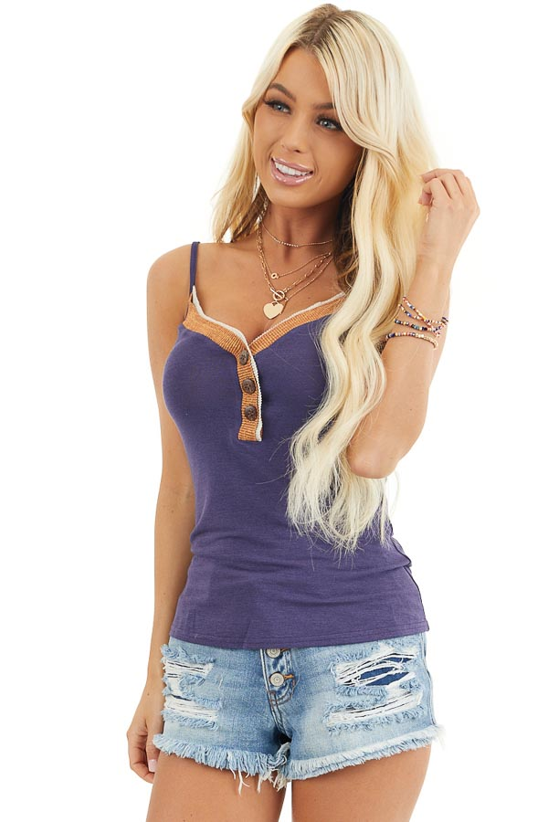Navy Henley Spaghetti Strap Tank with Contrasting Neckline front close up