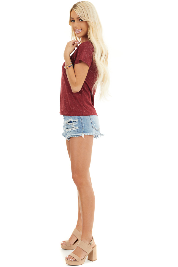 Maroon Speckled T Shirt with Distressed Cutout Neckline side full body
