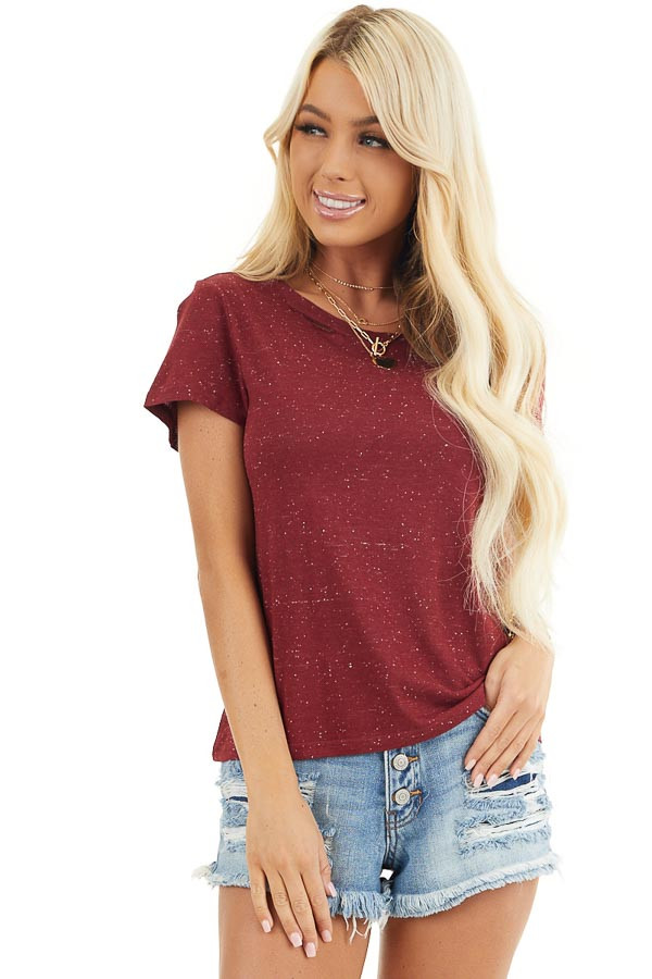 Maroon Speckled T Shirt with Distressed Cutout Neckline front close up