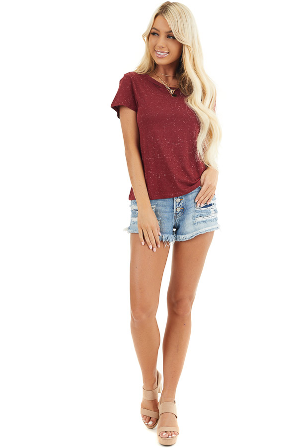 Maroon Speckled T Shirt with Distressed Cutout Neckline front full body