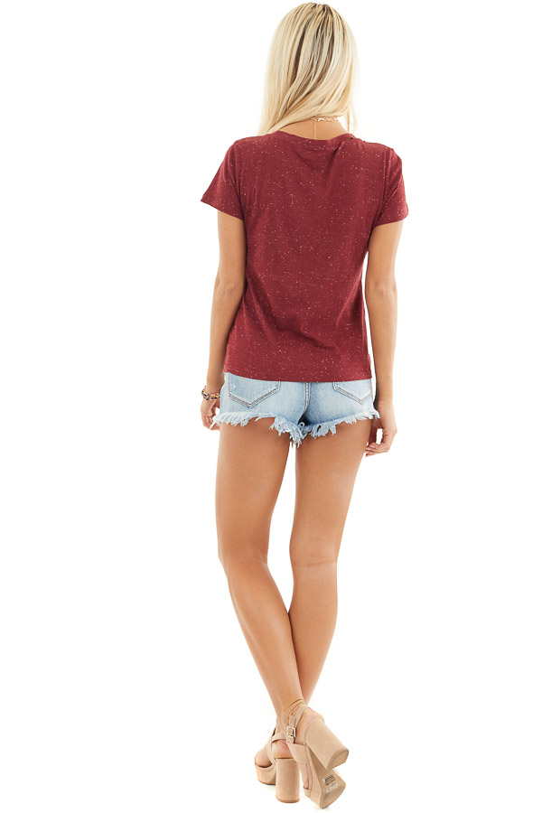 Maroon Speckled T Shirt with Distressed Cutout Neckline back full body