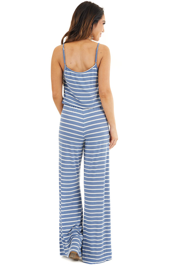 Dusty Blue and White Striped Spaghetti Strap Jumpsuit back full body