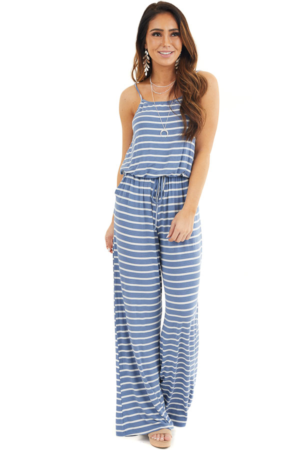 Dusty Blue and White Striped Spaghetti Strap Jumpsuit front full body