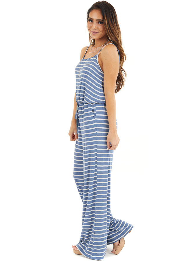 Dusty Blue and White Striped Spaghetti Strap Jumpsuit side full body