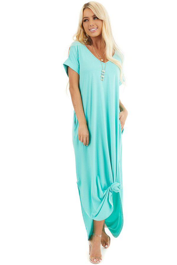 Mint Green Short Sleeve V Neck Maxi Dress with Side Slits front full body