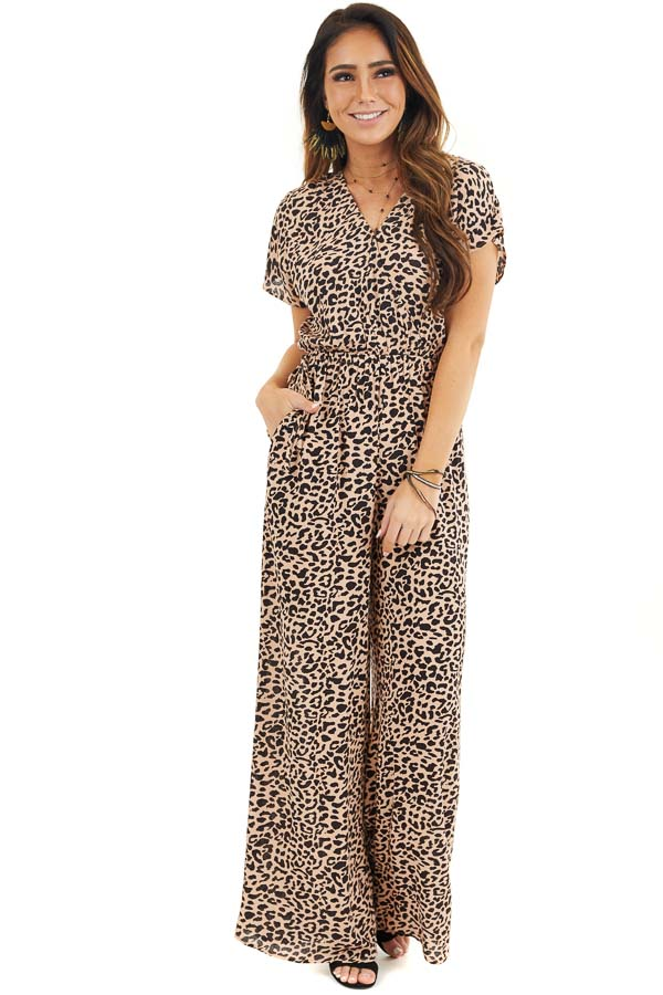 Beige and Black Leopard Print Short Sleeve Jumpsuit front full body