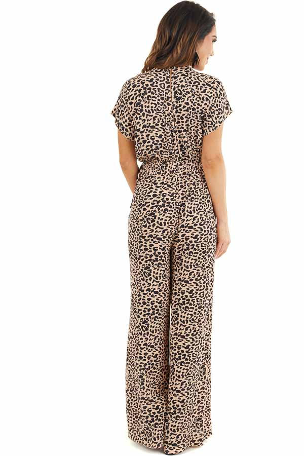 Beige and Black Leopard Print Short Sleeve Jumpsuit back full body