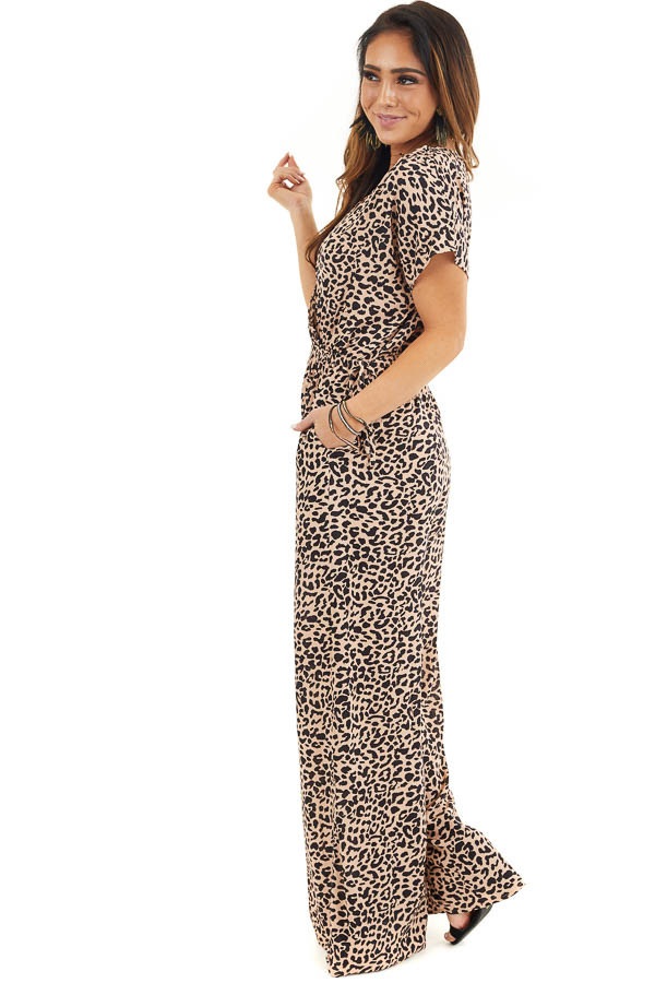 Beige and Black Leopard Print Short Sleeve Jumpsuit side full body