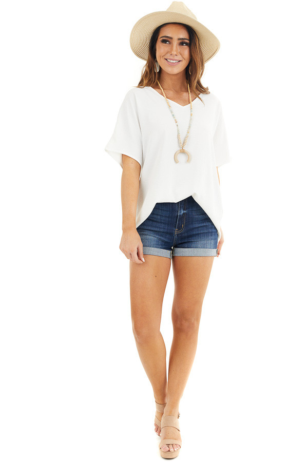 Off White Loose Blouse with V Neckline and Short Sleeves front full body