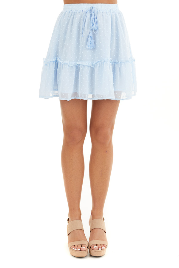 Baby Blue Swiss Dot Skirt with Elastic Waistband and Tie front view
