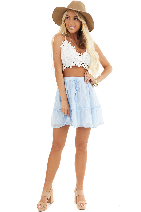 Baby Blue Swiss Dot Skirt with Elastic Waistband and Tie front full body