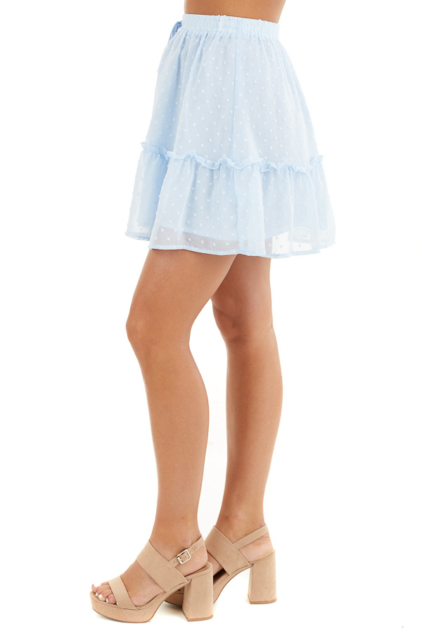 Baby Blue Swiss Dot Skirt with Elastic Waistband and Tie side view