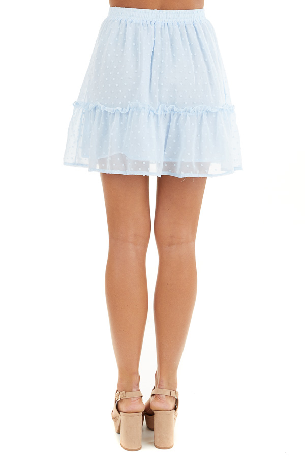 Baby Blue Swiss Dot Skirt with Elastic Waistband and Tie back view