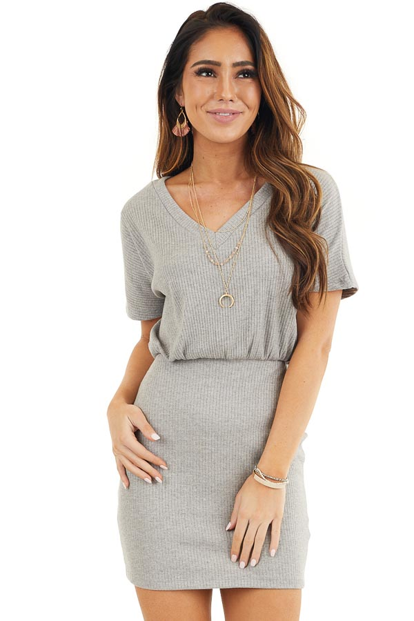 Heather Grey Ribbed Knit Bodycon Dress with V Neckline front close up