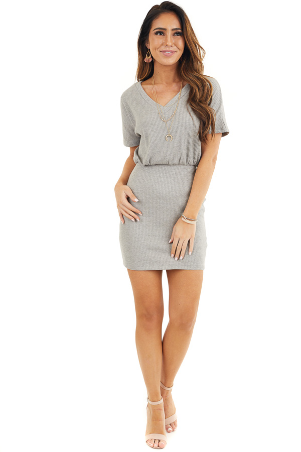Heather Grey Ribbed Knit Bodycon Dress with V Neckline front full body