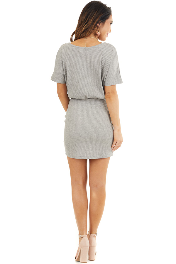 Heather Grey Ribbed Knit Bodycon Dress with V Neckline back full body