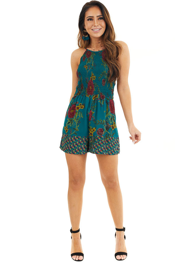 Dark Teal Floral Print Sleeveless Romper with Smocked Bust front full body