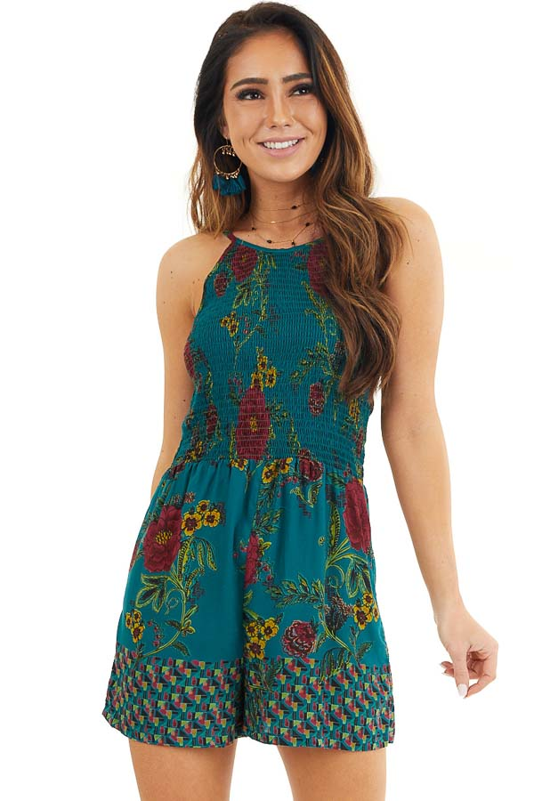 Dark Teal Floral Print Sleeveless Romper with Smocked Bust front close up