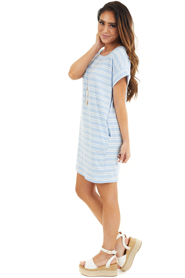 Baby Blue and Off White Striped Dress with Short Sleeves side full body