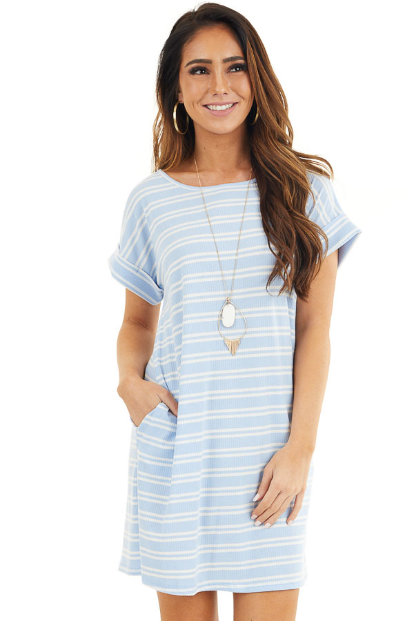 Baby Blue and Off White Striped Dress with Short Sleeves front close up