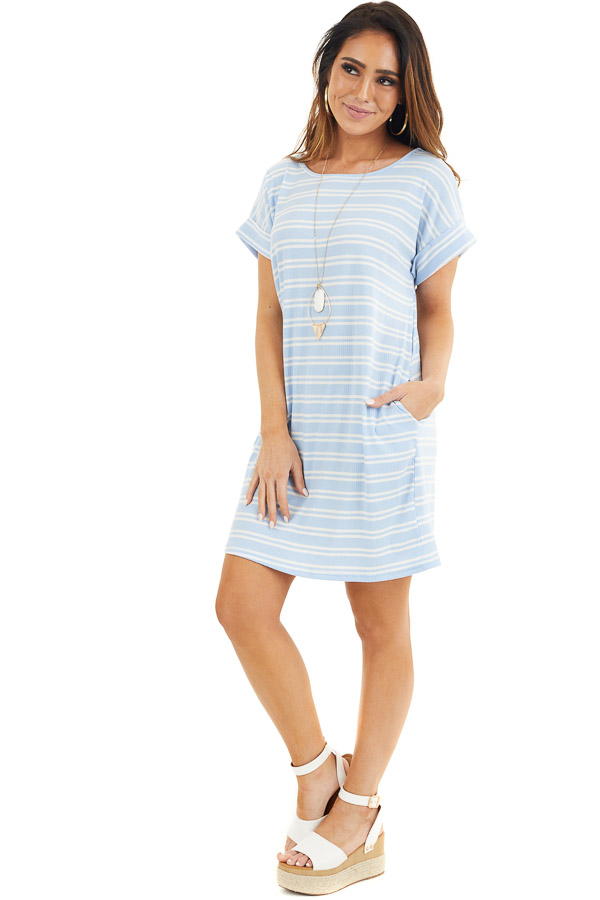 Baby Blue and Off White Striped Dress with Short Sleeves front full body