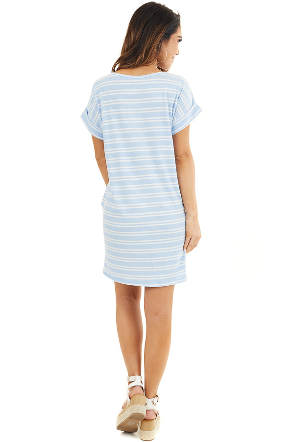 Baby Blue and Off White Striped Dress with Short Sleeves back full body