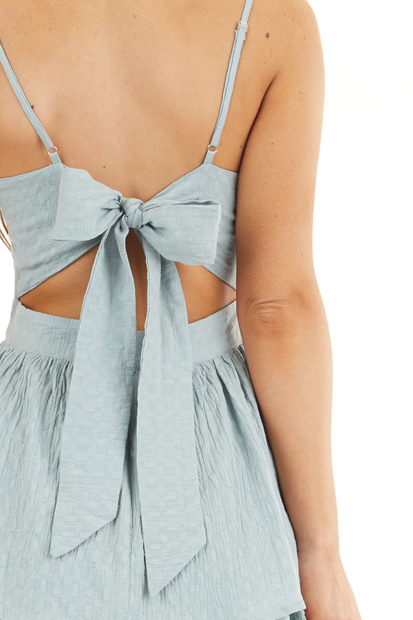 Sage Green Ruffled Romper with Adjustable Spaghetti Straps detail