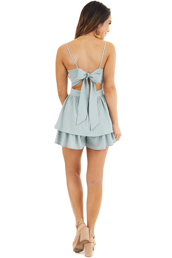 Sage Green Ruffled Romper with Adjustable Spaghetti Straps back full body