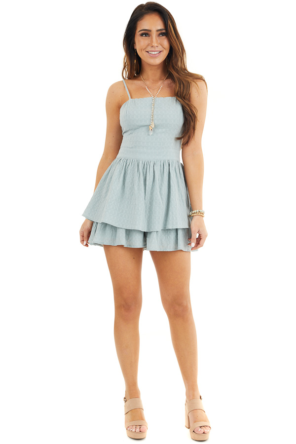 Sage Green Ruffled Romper with Adjustable Spaghetti Straps front full body