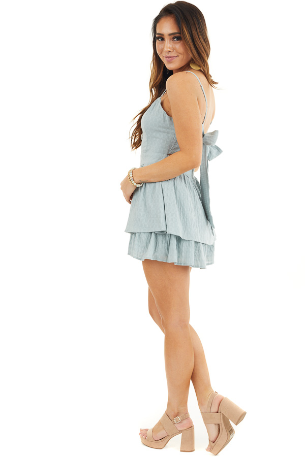 Sage Green Ruffled Romper with Adjustable Spaghetti Straps side full body