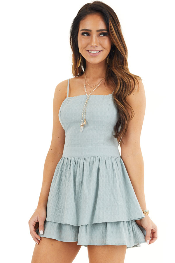 Sage Green Ruffled Romper with Adjustable Spaghetti Straps front close up