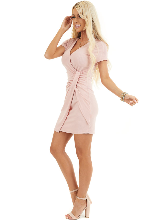 Blush Pink Ribbed Bodycon Dress with Front Twist Detail side full body