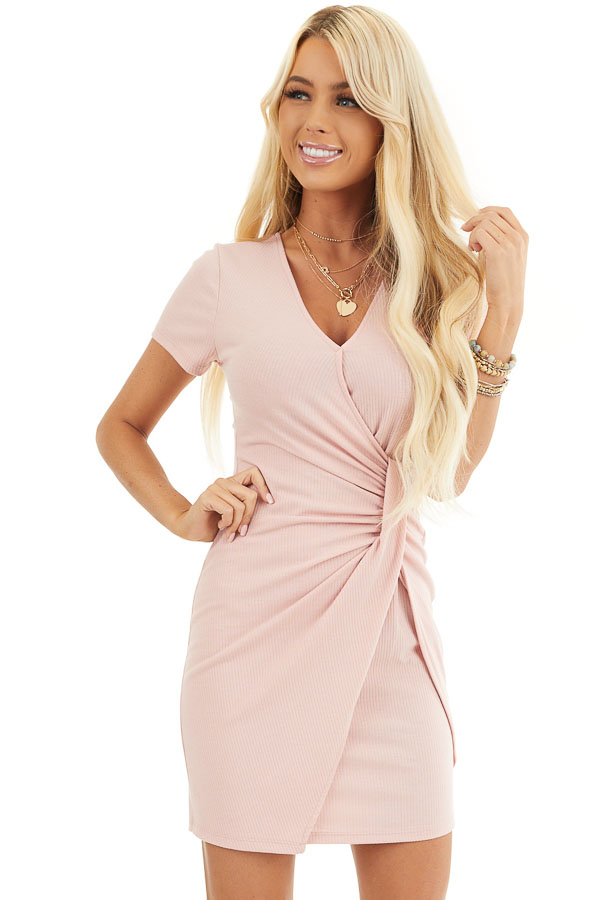 Blush Pink Ribbed Bodycon Dress with Front Twist Detail front close up