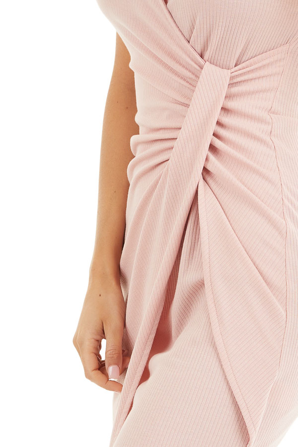 Blush Pink Ribbed Bodycon Dress with Front Twist Detail detail