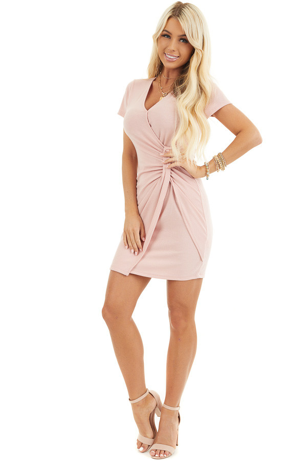 Blush Pink Ribbed Bodycon Dress with Front Twist Detail front full body