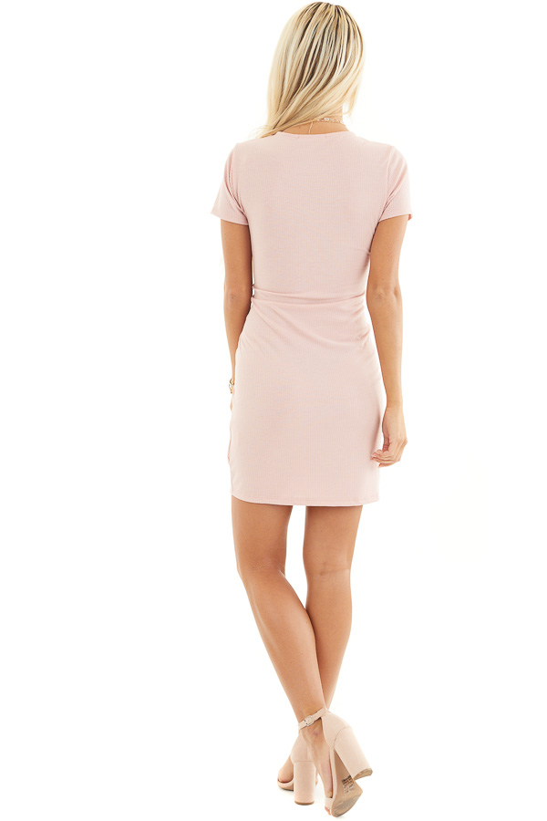 Blush Pink Ribbed Bodycon Dress with Front Twist Detail back full body