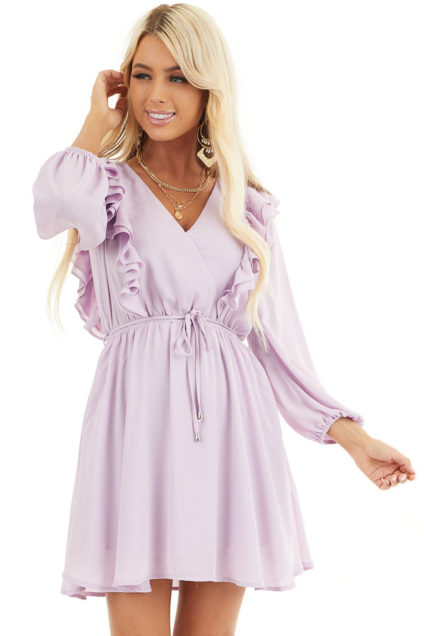 Lilac Long Sleeve Surplice Mini Dress with Ruffle Details front close up