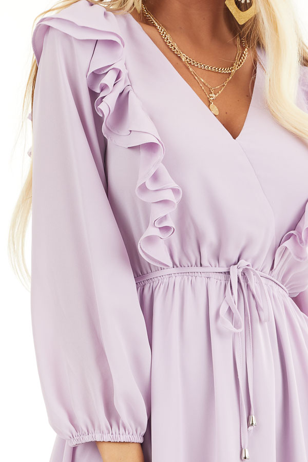 Lilac Long Sleeve Surplice Mini Dress with Ruffle Details detail