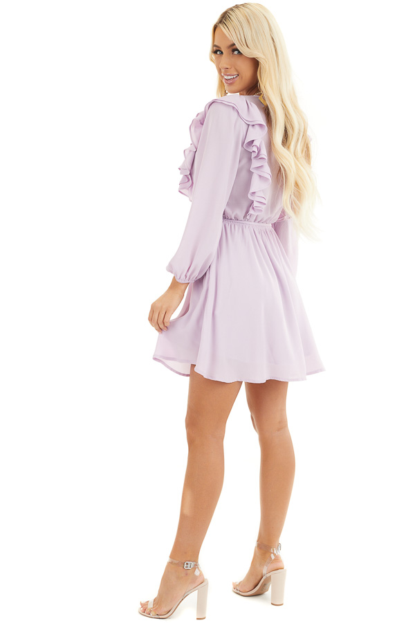 Lilac Long Sleeve Surplice Mini Dress with Ruffle Details side full body