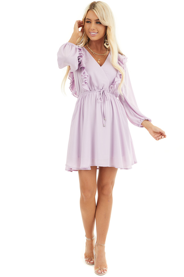 Lilac Long Sleeve Surplice Mini Dress with Ruffle Details front full body