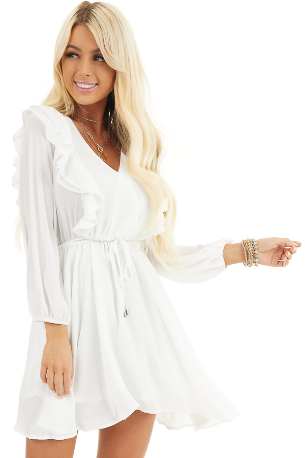 White Long Sleeve Surplice Mini Dress with Ruffle Details front close up