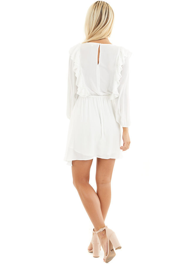 White Long Sleeve Surplice Mini Dress with Ruffle Details back full body