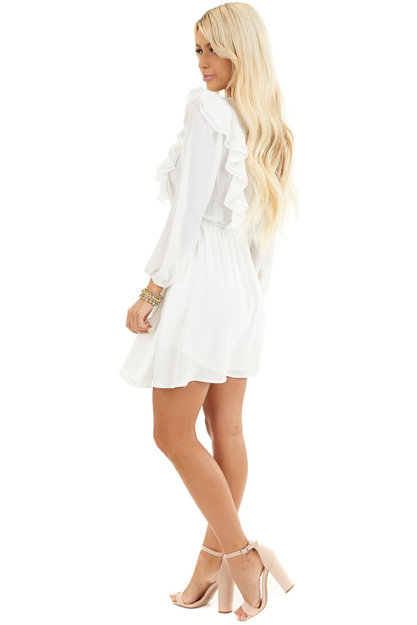 White Long Sleeve Surplice Mini Dress with Ruffle Details side full body