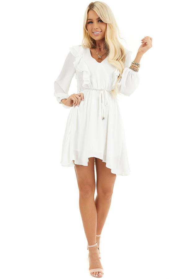 White Long Sleeve Surplice Mini Dress with Ruffle Details front full body