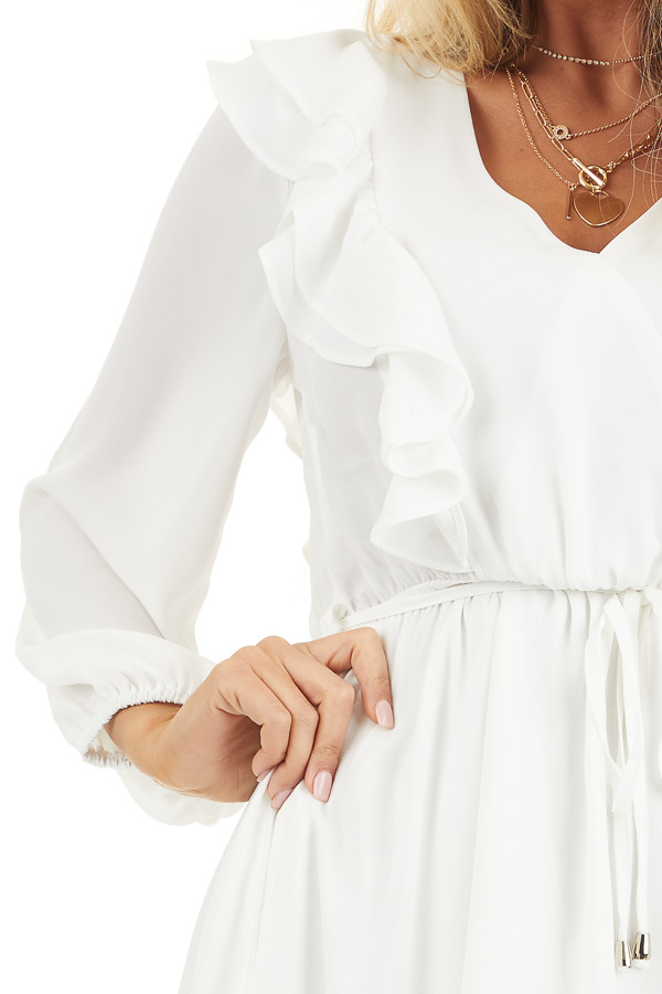 White Long Sleeve Surplice Mini Dress with Ruffle Details detail
