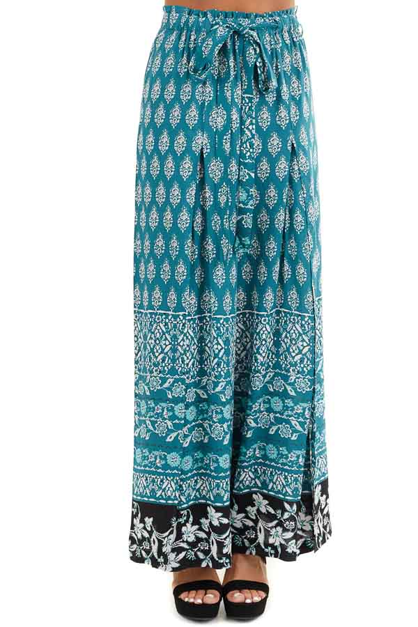 Deep Teal Patterned Wide Leg Pants with Front Slits front view